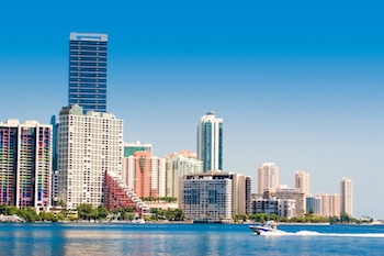 Miami skyline view from Key Biscayne in a sunny day