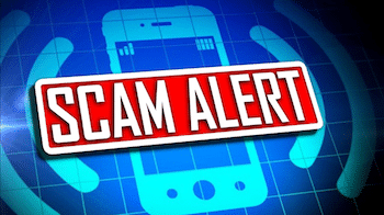 Graphic reading Scam Alert over a mobile phone icon